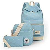 Canvas dot three pieces sets packbag fashion shoulder bag school bag junior SB06 light blue