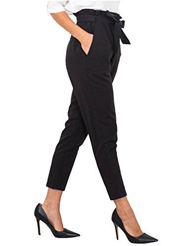 Gamba Simplee Donne Delle Rettilineo Casual Tasche Sottile Pantaloni Nero Abbigliamento dEYqgwqB