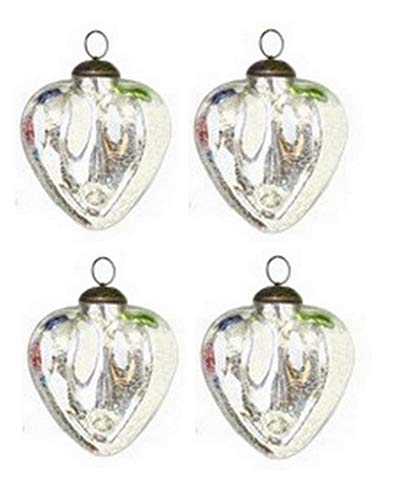 """Culturas Trading 3"""" Silver Mercury Crackle Glass Heart Christmas Ornament Set of 4"""