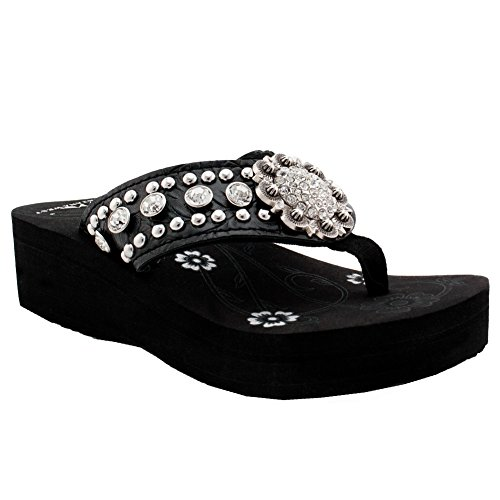 Montana West Women Flip Flops Wedged Bling Sandals Large Floral Concho Black from Montana West Brand