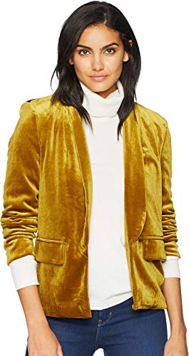 re Women's Velvet Shawl Collar Blazer Mustard Large ()