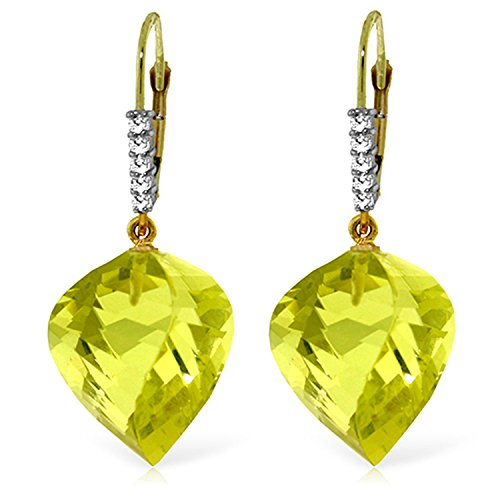 21.65 Carat 14K Solid Gold Leverback Earrings Diamond Briolette Quartz