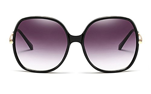 70s Super Oversize Square Sunglasses for Women Vintage Rectangular Plastic Frame (Black, 60) ()