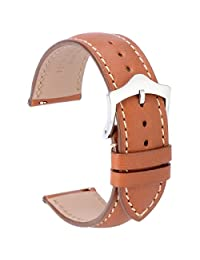 WOCCI Watch Band Quick Release,18mm Fine Grain Calf Leather Watch Strap in Gold Brown Contrasting Stitching
