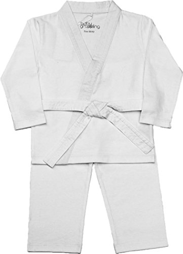 Baby grappling ORGANIC Baby gi 3-piece Martial Arts Playsuit, White with White belt, 3-6 (Baby Karate Costume)