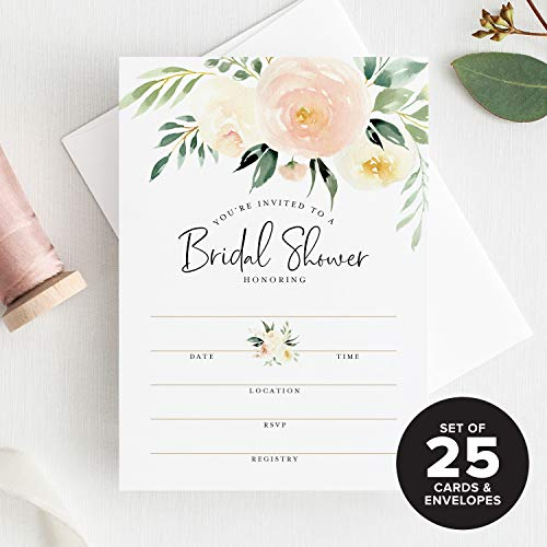 Bliss Collections 25 Bridal Shower Invitations with Envelopes - Coral and Greenery Watercolor Floral Fill-in Style invites from (25 Pack)