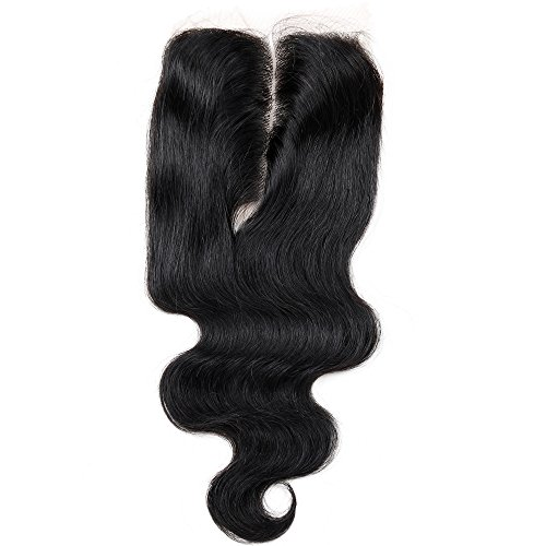 Price comparison product image Golden Rule Human Hair Swiss Lace Closure Bleached Knots Middle Part 6A Brazilian Body Wave (44) Natural Color