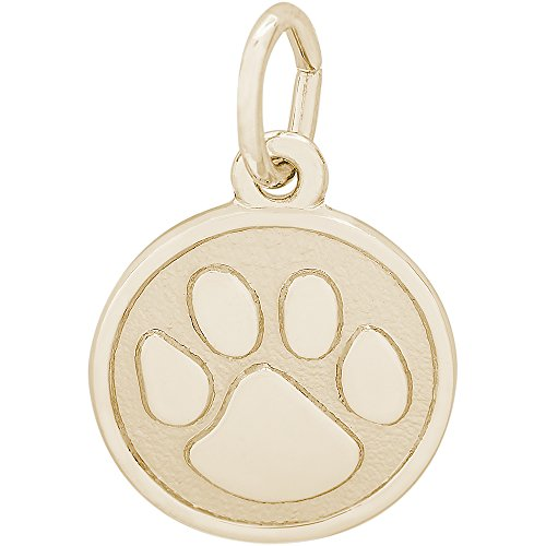 Rembrandt Charms 14K Yellow Gold Petite Paw Print Charm (0.51 x 0.51 inches) (Yellow Charm Cat Gold)