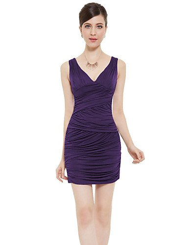 PU&PU Robe Aux femmes Moulante Simple,Couleur Pleine Col en V Au dessus du genou Polyester , purple-xl , purple-xl