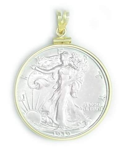 Dollar Gold Coin Pendant (Gold Filled Walking Liberty Half Dollar Coin Edge Pendant Coin Included 30.60mm x 2.10mm)