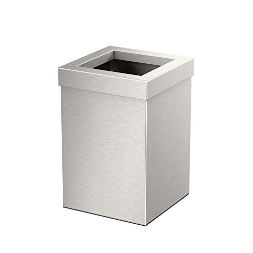 Gatco 1914 Waste Can Modern Bathroom, Kitchen, Office Trash Bin, Square, Satin Nickel ()