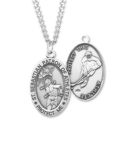 (27 7/18) BERTOF Men's HOCKEY SAINT SEBASTIAN STERLING SILVER Patron Saint Athletes Medal Copyrighted Paul Herbert Blessing ZORA ()