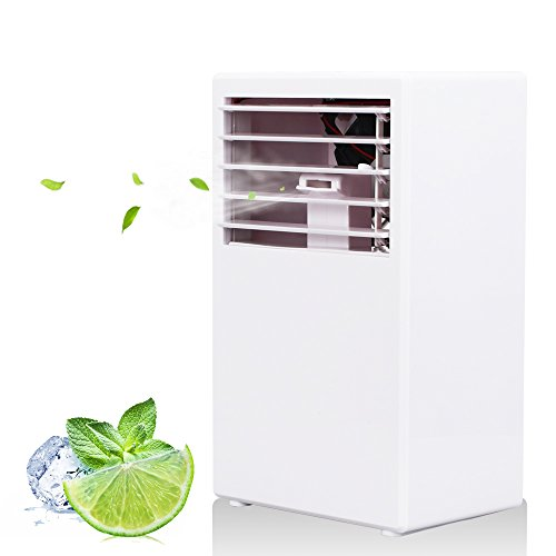 LOHOME Bladeless Fan - Desktop Air Conditioning Fan - Quiet Spray Humidifier Cooler Fan for Summer (White)