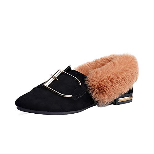 Londony ♪✿ Clearance Sales,Women's Closed Toe Slip On Loafer Plush Shoes Non-Slip Warm Small Cotton Shoes