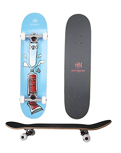 HN skateboard 31 Inch Complete Skateboard - 7 Layer Canadian Maple Wood Double Kick Concave Skateboards - Tricks Skate Board Great for Beginners or Advanced Learners to Doing Stunts by
