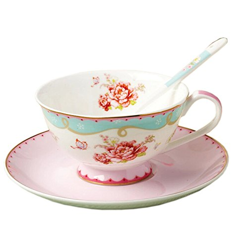 Vintage Floral Coffee Cup Golden Line ROSE Tea Mug Set With A Plate&Spoon