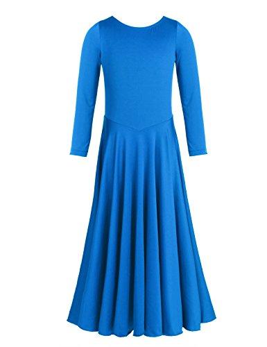 CHICTRY Girl's Child Elegant liturgical Praise Full Length Long Sleeve Dance Dress Blue 6 by CHICTRY