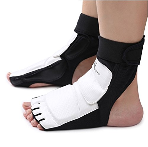 CTHOPE Foot Protector Gear Leather Feet Guard Ankle Support for Men Women Kids TaekwondoTraining Boxing Kickboxing Punch…