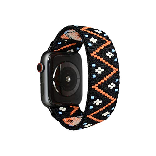 Tefeca Embroidery Polyline Pattern Elastic Compatible/Replacement Band for Apple Watch 38mm 40mm 42mm 44mm (Black Adapter for 42mm/44mm Apple Watch, Wrist Size : 6.0-6.4 inch (L2)) (Woven Aluminum Fabric)