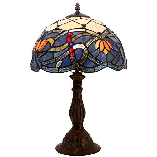 (Tiffany Table Lamp Stained Glass Lotus Style Table Lamps Height 18 Inch for Living Room Antique Desk Beside Bedroom with Antique Style Zinc Base Sets S220 WERFACTORY)