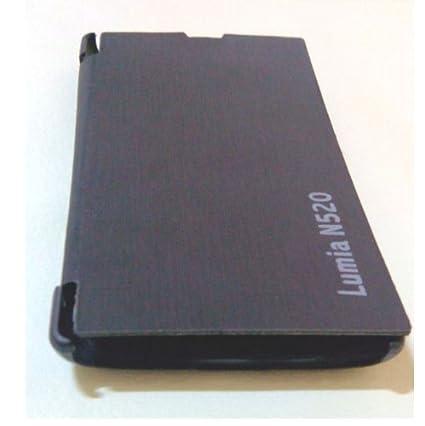 Nokia Lumia 520 Windows Mobile PU Leather Flip Back Cover Protector Case  (Black)