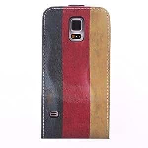 MOFY-Tres Modelo del color de la raya de cuero de la PU del caso del cuerpo completo para Samsung Galaxy i9600 S5 (colores surtidos)
