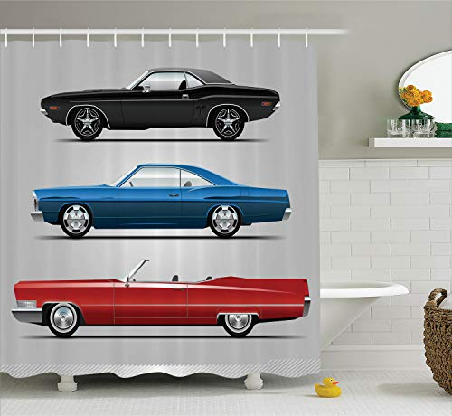 Ambesonne Cars Decor Collection, Set of Old-Fashion Cars in Different Colors Seventies Icon Effects Usa Theme Design Art, Polyester Fabric Bathroom Shower Curtain, 75 Inches Long, Red Blue Black