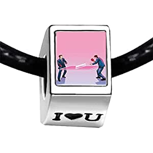 Chicforest Silver Plated Olympics two ping pong player complete Photo I Love You Charm Beads Fits Pandora Bracelets