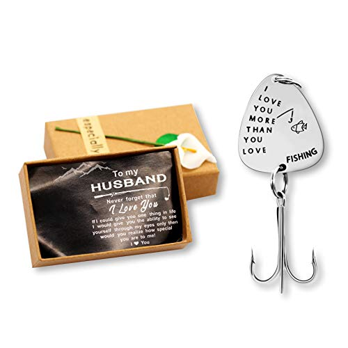 Uloveido Silver Color Stainless Steel Treble Fish Hooks Fishing Circle Hooks with Gift Box for Men Husband Lover Christmas Birthday Gift (i Love You More Than You Love) (Love Hook)