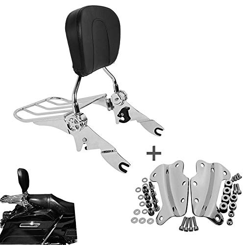 Chrome Adjustable Backrest Sissy Bar Luggage Rack with 4 Point Docking Hardware Kit for Touring Road King Road Glide Street Glide Electra Glide Ultra Classic 2009-2013