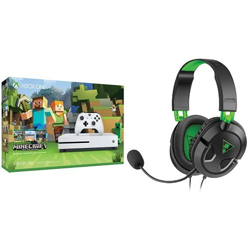 Xbox One S 500GB Console – Minecraft + Turtle Beach Ear Force Recon 50x Gaming Headset
