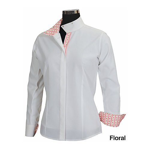 Ladies Show Shirt - Equine Couture Women's Isabel Coolmax Show Shirt, White/Argyle, 34