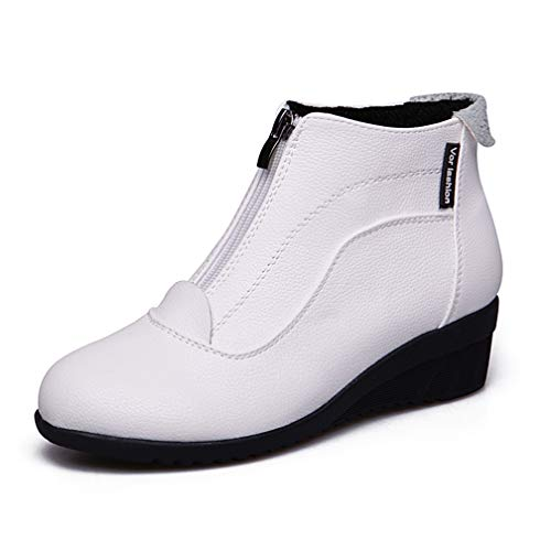 ChyJoey Women's Flat Wedge Ankle Booties Zipper Round Toe Platform Soft Fall Winter Low Heel Short Boots White