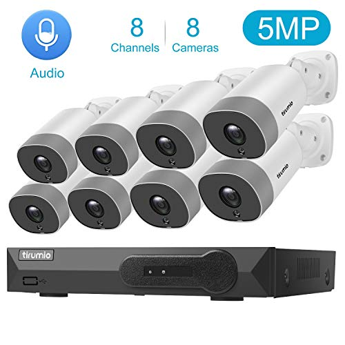 PoE Security Camera System,TIRUMIO 8CH 5MP(2.5x1080P) Wired Home Surveillance PoE NVR System with 8pcs 5MP Super HD Outdoor Cameras,IP67 Weatherproof,100ft Night Vision,Motion Detect,No Hard Drive