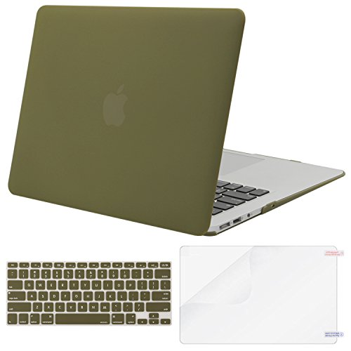 Mosiso-Plastic-Hard-Case-with-Keyboard-Cover-with-Screen-Protector-for-MacBook-Air-13-Inch-Models-A1369-and-A1466-Capulet-Olive