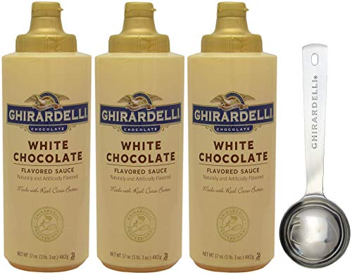 Ghirardelli White Chocolate Sauce Squeeze Bottles, 17 Ounce (Pack 3) - with Limited Edition Measuring - Chocolate White Coffee For Syrup