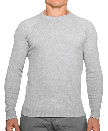 CC Perfect Slim Fit Crew Neck Sweaters for Men | Lightweight Breathable Mens Sweater | Soft Fitted Pullover for Men, Medium, Heather Gray