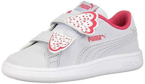 PUMA Unisex-Kid's Smash V2 Butterfly Velcro Sneaker, Heather-Nrgy Rose White, 13 M US Little Kid