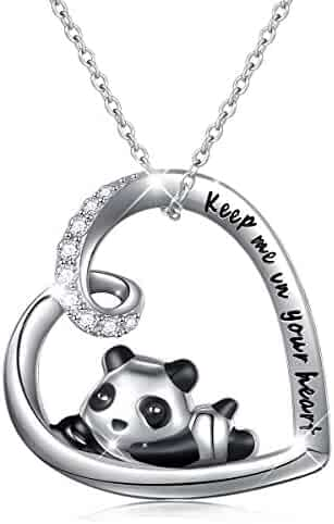3876d27f9 925 Sterling Silver Cute Animal Heart Pendant Necklace with Words Engraved,  Chain 18 inch Women