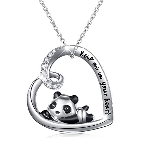 925 Sterling Silver Cute Animal Panda Heart Pendant Necklace with Words Engraved, Chain 18 inch Women Girls Birthday Gift (Keep me in your heart)
