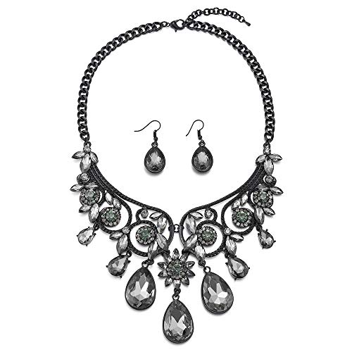 - COOLSTEELANDBEYOND Victorian Statement Black Necklace Crystal Cluster Teardrop Floral Chandelier Pendant Earrings Set