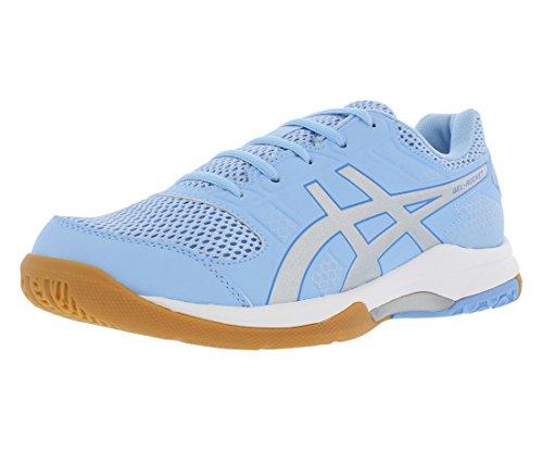 ASICS Womens Gel-Rocket 8 Volleyball Shoe, Airy Blue/Silver/White, 10.5 Medium US