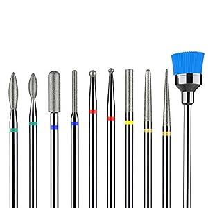 "MelodySusie 10Pcs Diamond Nail Drill Bit Set, 3/32"" (2.35mm) Professional Cuticle Nail Drill Bits Kit for Acrylic Gel…"