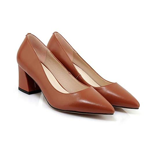 Spring Pump Leather Basic Nappa Heel Chunky ZHZNVX White White Heels Brown Women's Shoes SnAqnYI