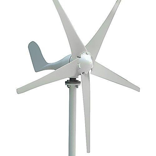 HUKOER Wind Turbine Generator Waterproof Wind Controller 12v/24v 100w/200w/300w/400w 5 Blades Low Wind Speed Starting Top Rated NSK Bearings Garden Street Lights Wind Turbines