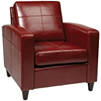 Avenue Six Venus Leather Club Chair in Red