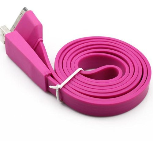(Best Shopper - Replacement 30pin Flat Slim USB Cable 3M (10ft) - Hot Pink Compatible with iPhone iPad iPod)