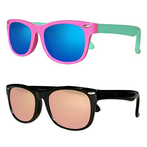 081b09db9ab8 Kids Polarized Cat Eye Aviator Sunglasses for Girls Boys Children Pack of 2