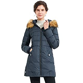 Orolay Women's Down Jacket with Faux Fur Trim Hood (2XL, Navy)