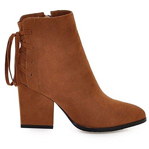 Women Shoes Brown Winter Heels TAOFFEN Boots Short Classical Block Z0ZdqO